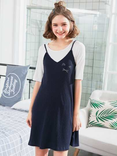 Cat Print Ribbed Cami Dress With Tee