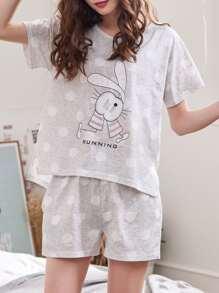 Rabbit & Dot Print Pajama Set