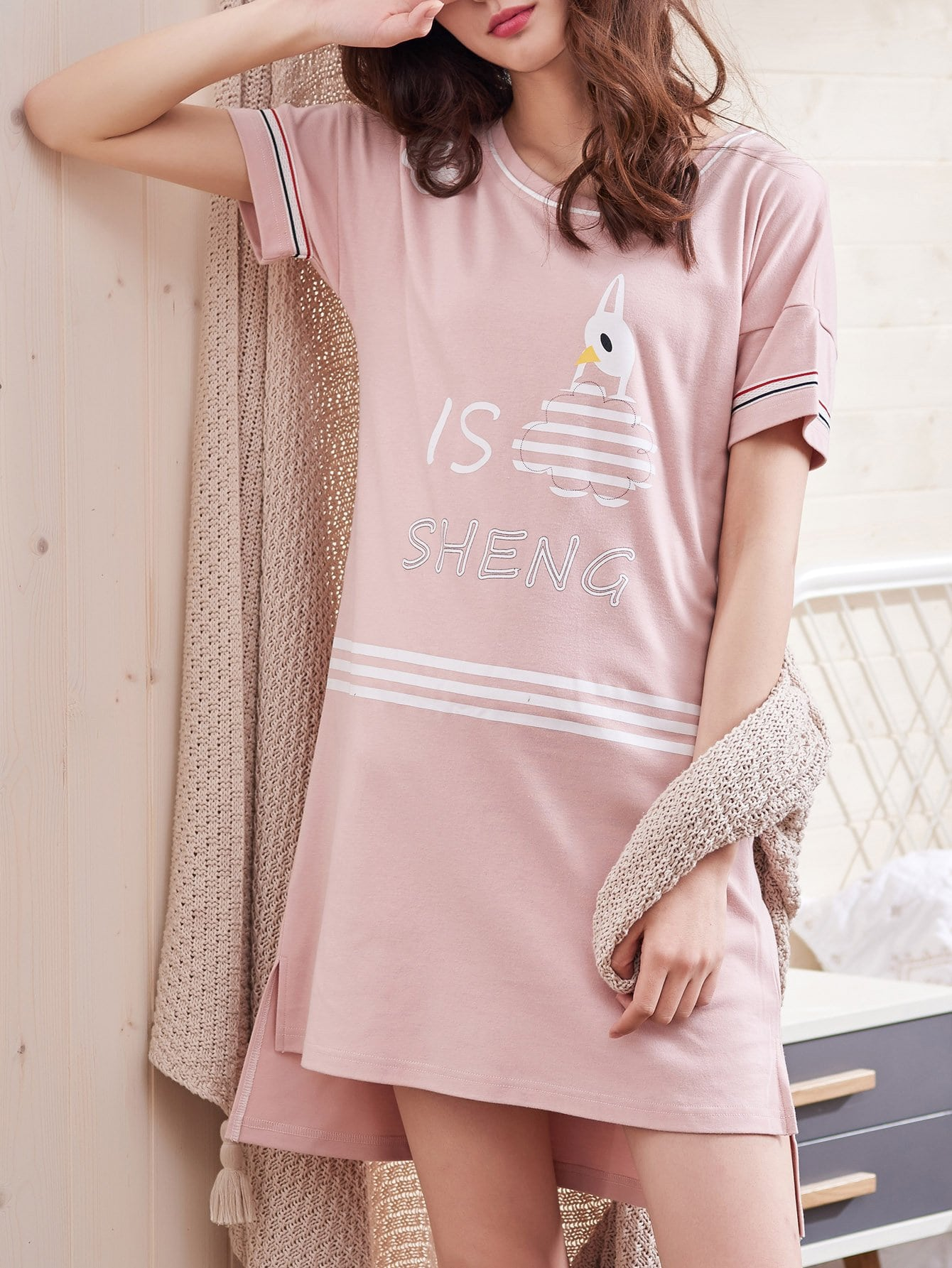 Купить Контрастное полосатое платье для печати мультфильмов, null, SheIn
