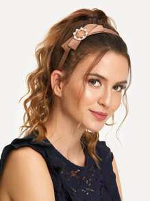 Bow Decorated Headband With Faux Pearl