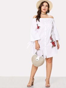 Knot Ruffle Sleeve Embroidery Button Up Dress
