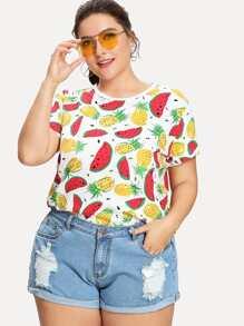 Pineapple And Watermelon Print Tee