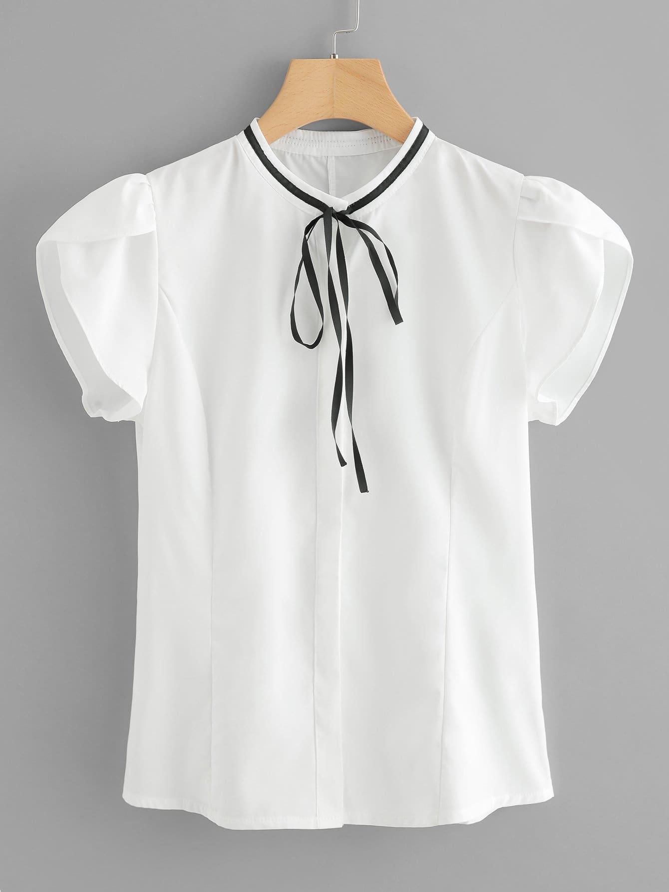Petal Sleeve Tie Neck Blouse petal sleeve self tie blouse