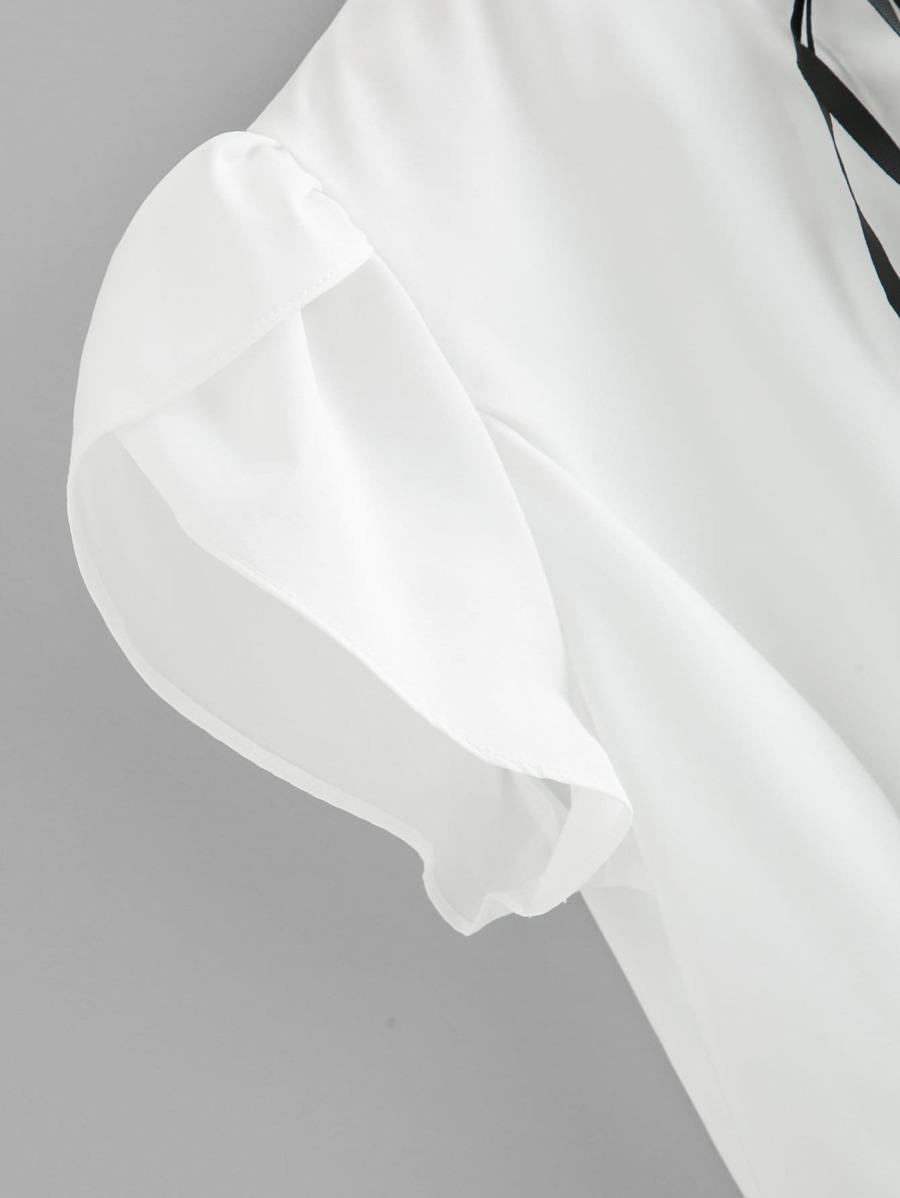 Petal Sleeve Tie Neck Blouse by Sheinside