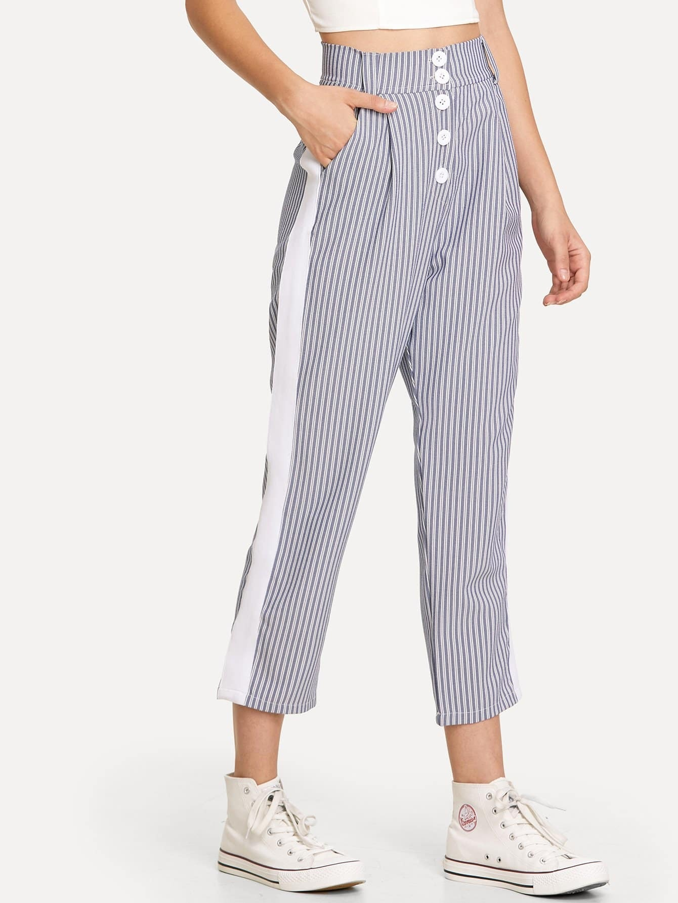 Contrast Panel Striped Pants kids contrast striped star print pants
