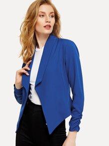 Shirred Sleeve Pointed Hem Crop Blazer
