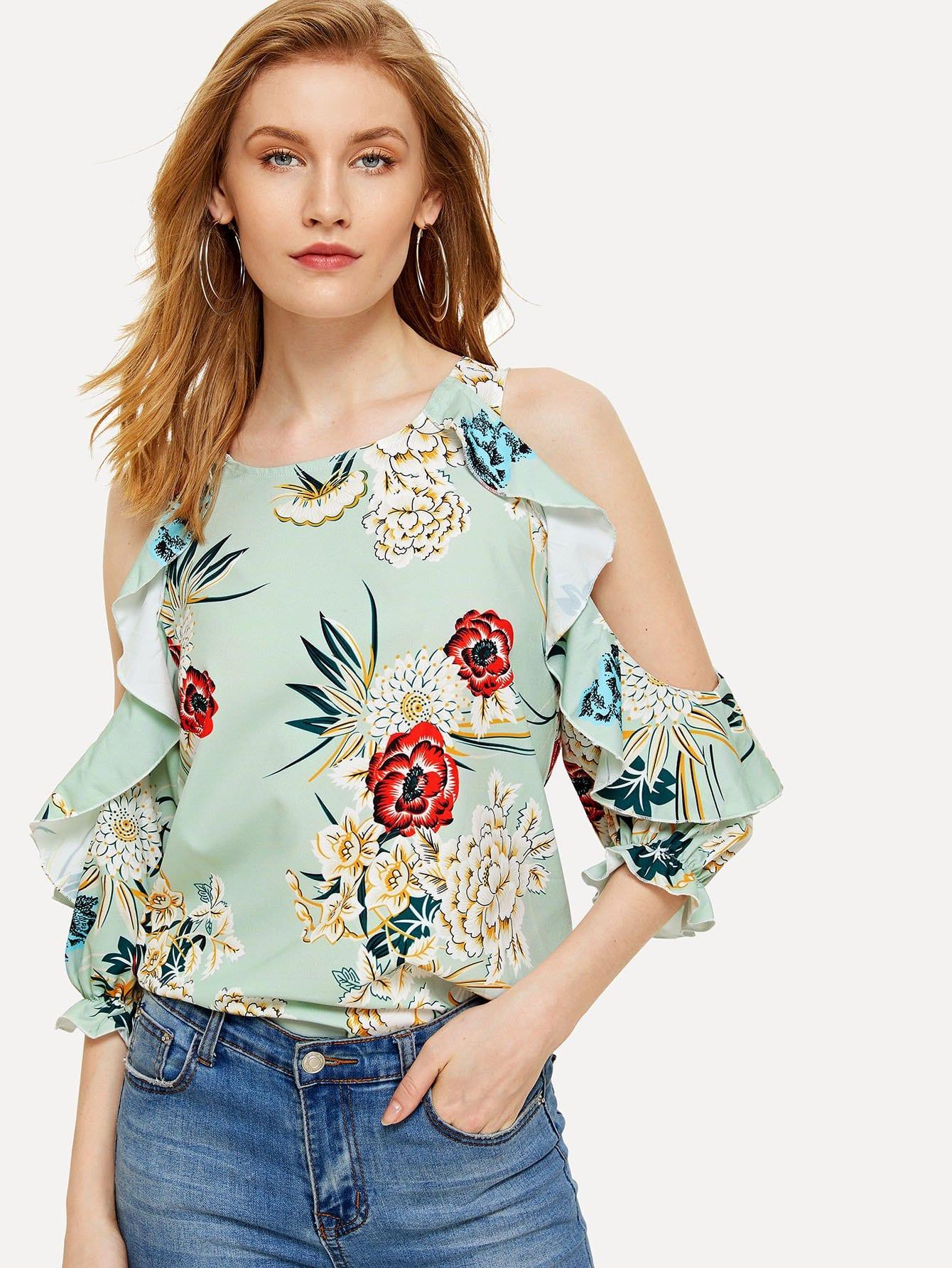 Floral Print Open Shoulder Frill Trim Blouse open shoulder frill trim plaid dress
