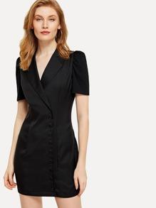 Single Breasted V Neckline Dress