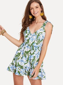 Ruffle Hem Floral Print Dress