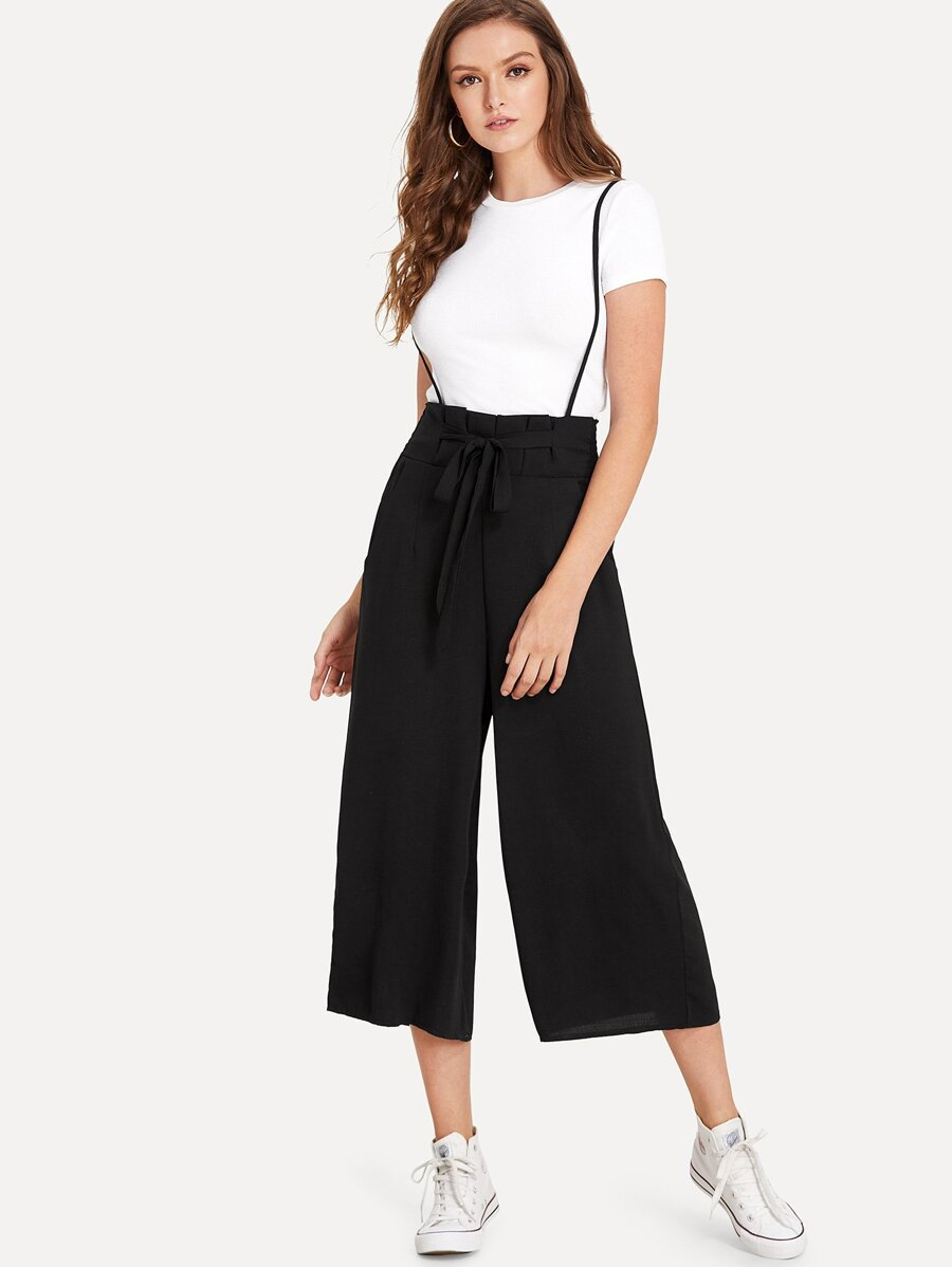 Knot Front Pocket Side Pinafore Pants by Sheinside