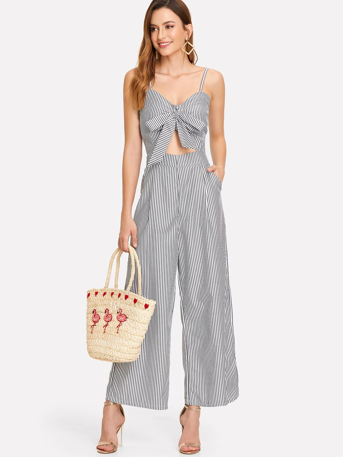 Cut Out Knot Front Striped Jumpsuit цена
