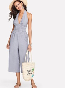 Open Back Pleated Halter Jumpsuit