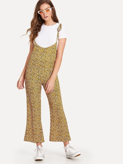 Calico Print Knot Shoulder Flare Leg Pinafore Pants