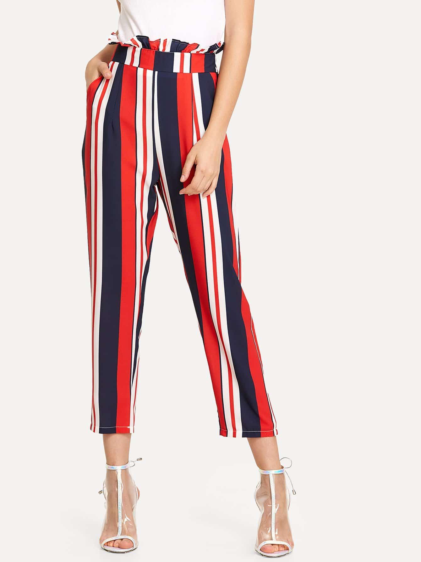 Frill Trim Zip Up Back Striped Pants zip back flared pants