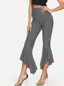 Ruffle Hem Striped Pants