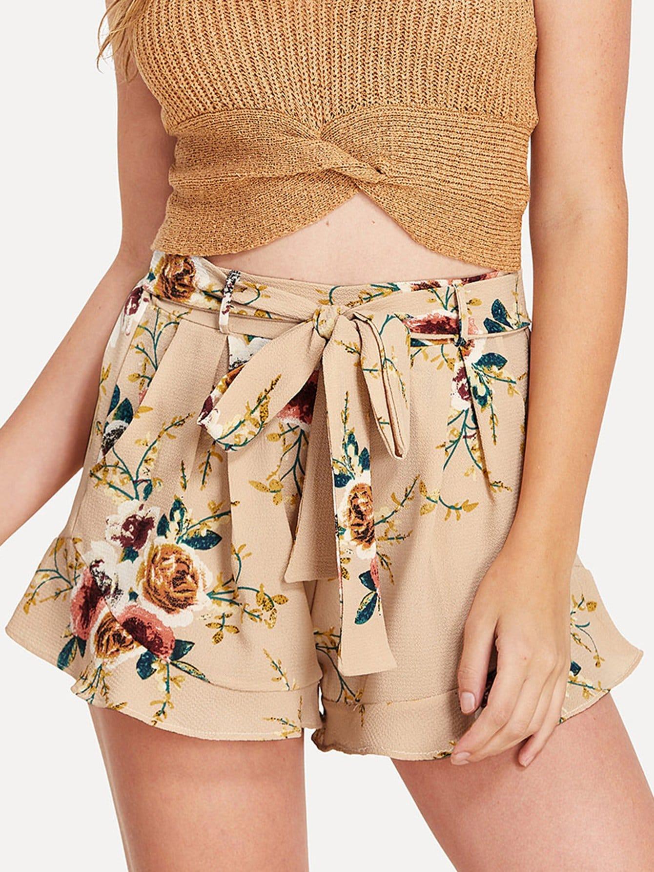 Floral Print Self Tie Waist Shorts self tie floral