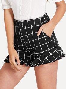 Ruffle Hem Checked Shorts