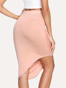 Asymmetrical Hem Pleated Skirt