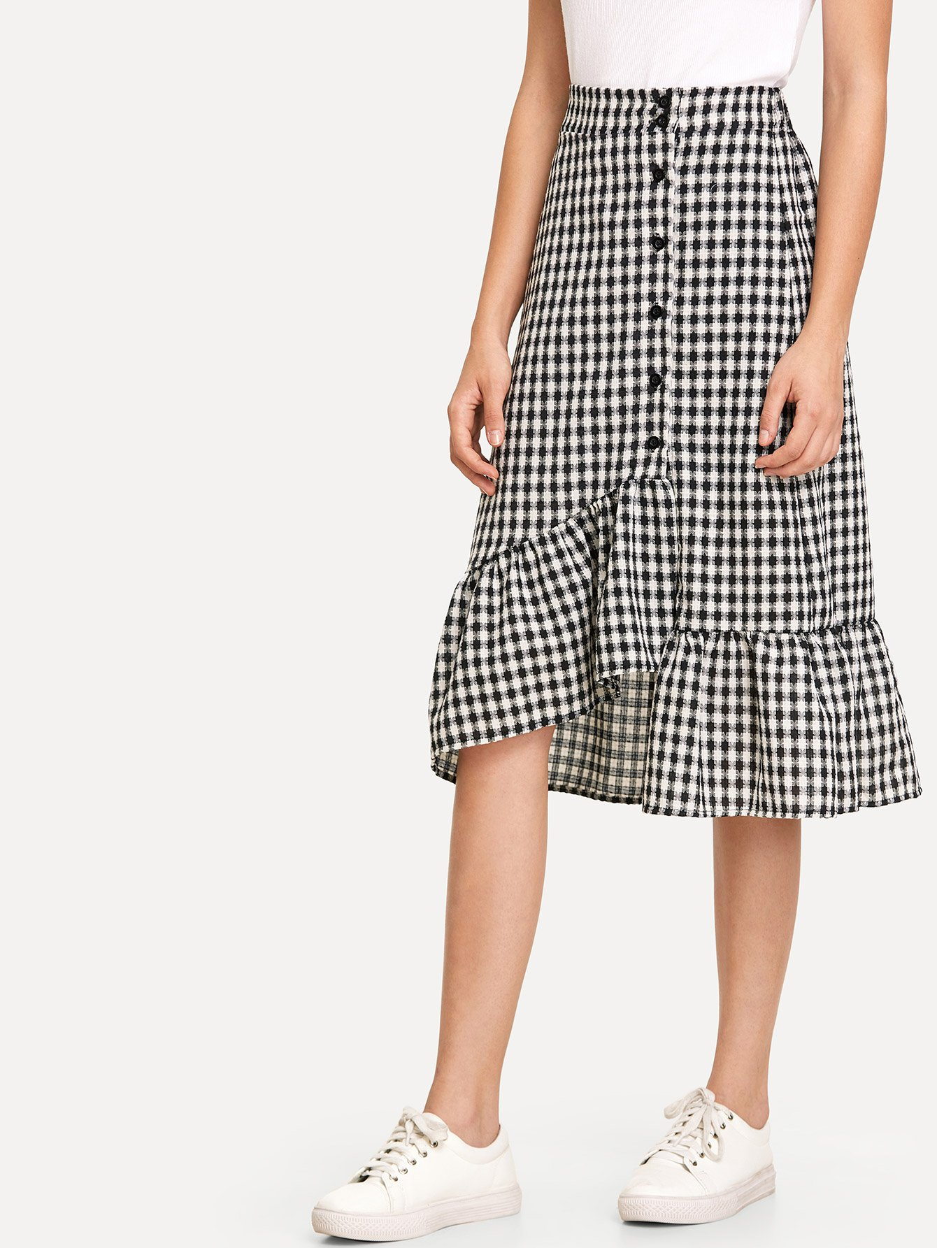 Single Breasted Ruffle Hem Checked Skirt single breasted side checked dress