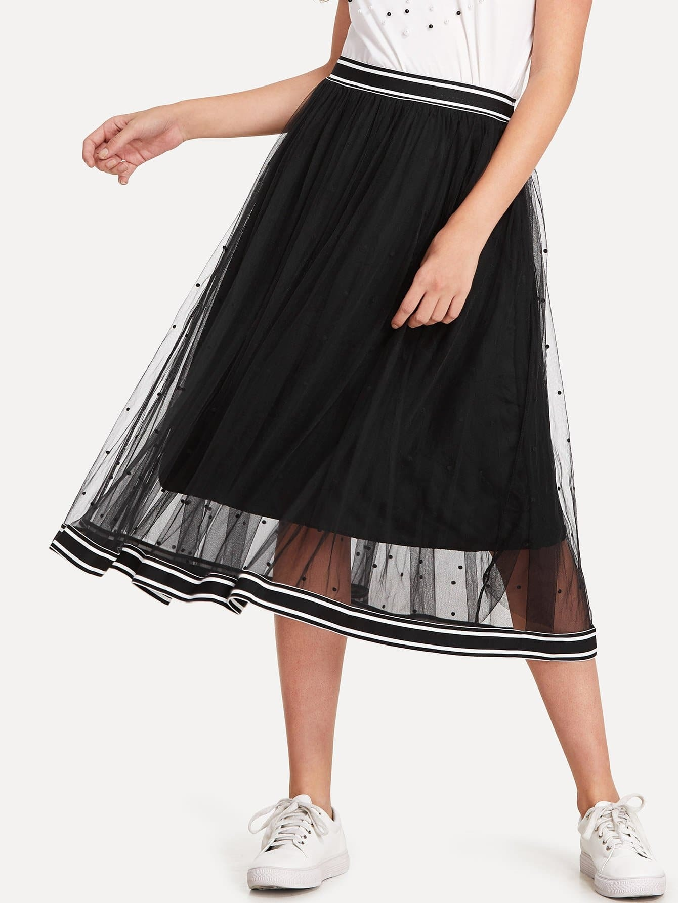 Striped Tape Trim Dotted Mesh Skirt mesh panel striped trim top