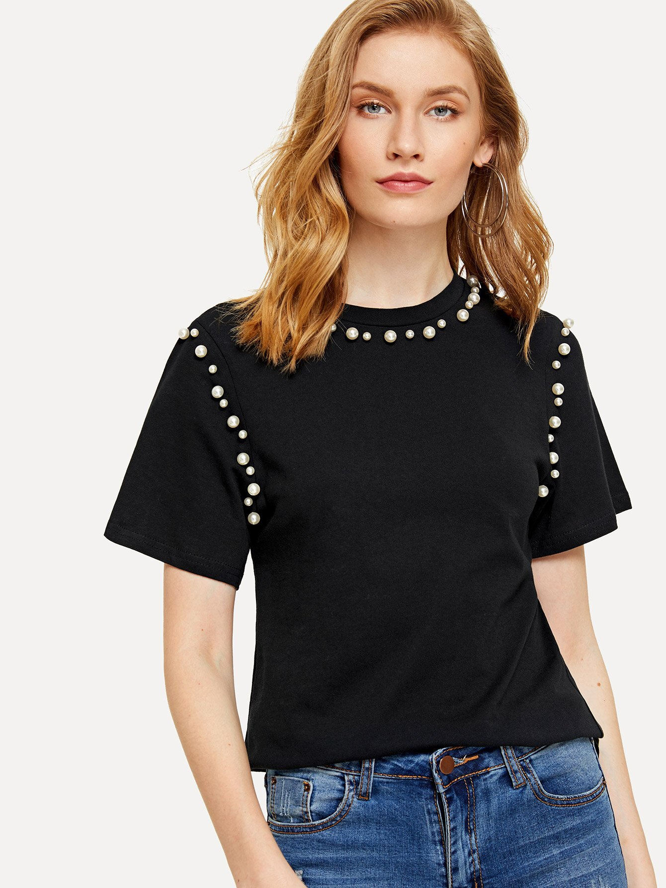 Pearl Beaded Tee pearl beaded ring round neck tee