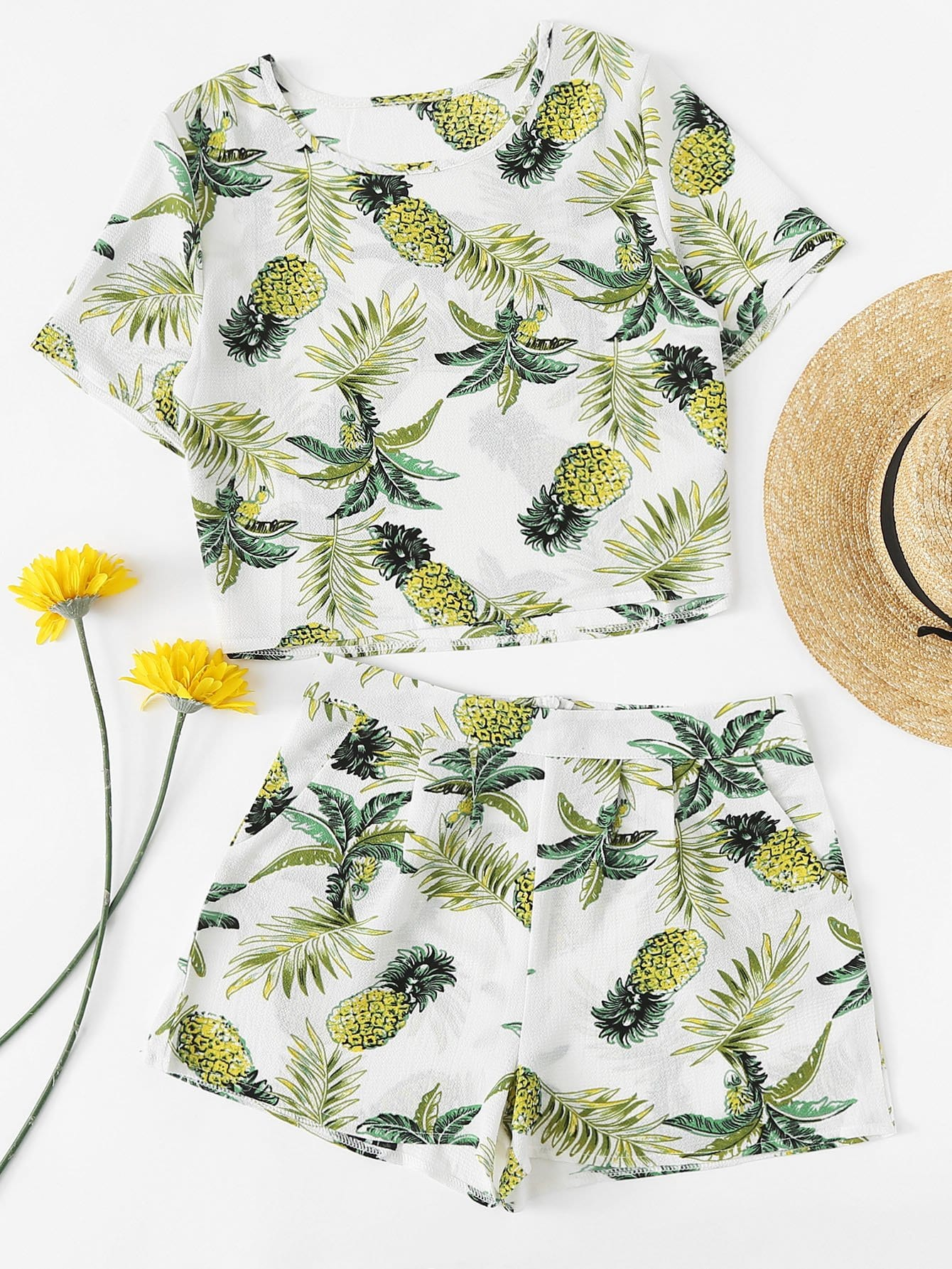 Pineapple Print Crop Top With Shorts black choker sleeveless crop top