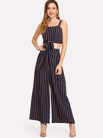 Knot Front Striped Cami With Pants