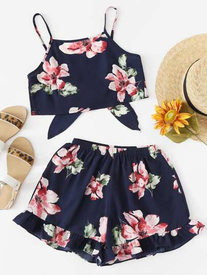 Floral Print Cami With Shorts