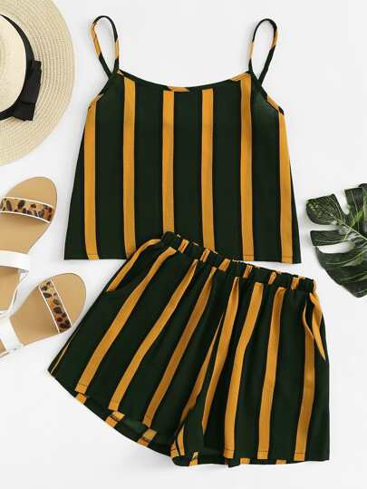 Contrast Striped Cami With Shorts