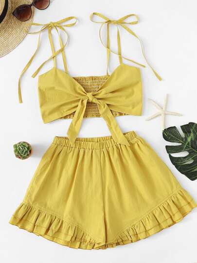 Knot Front Pleated Cami With Shorts