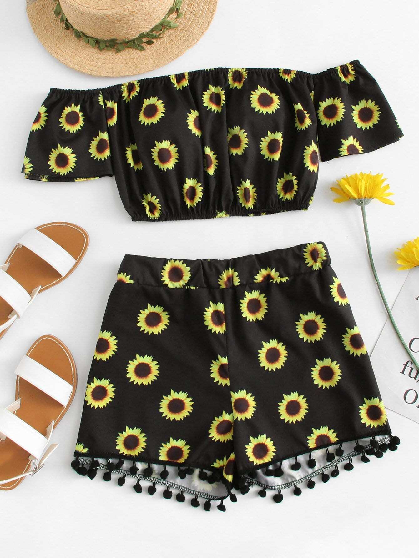 Off Shoulder Floral Print Top With Shorts floral applique bowknot top with shorts