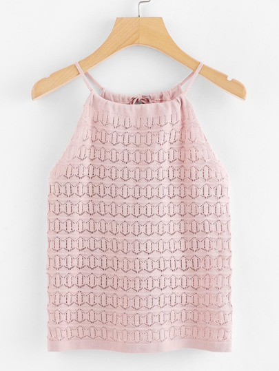 Cut Out Neck Back Knit Top