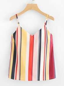V Neckline Striped Cami Top