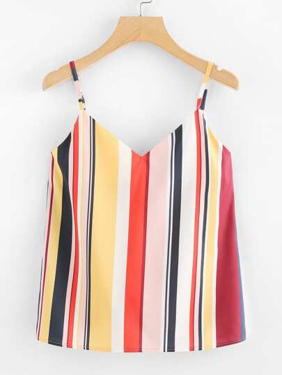 V Neckline Striped Cami Top