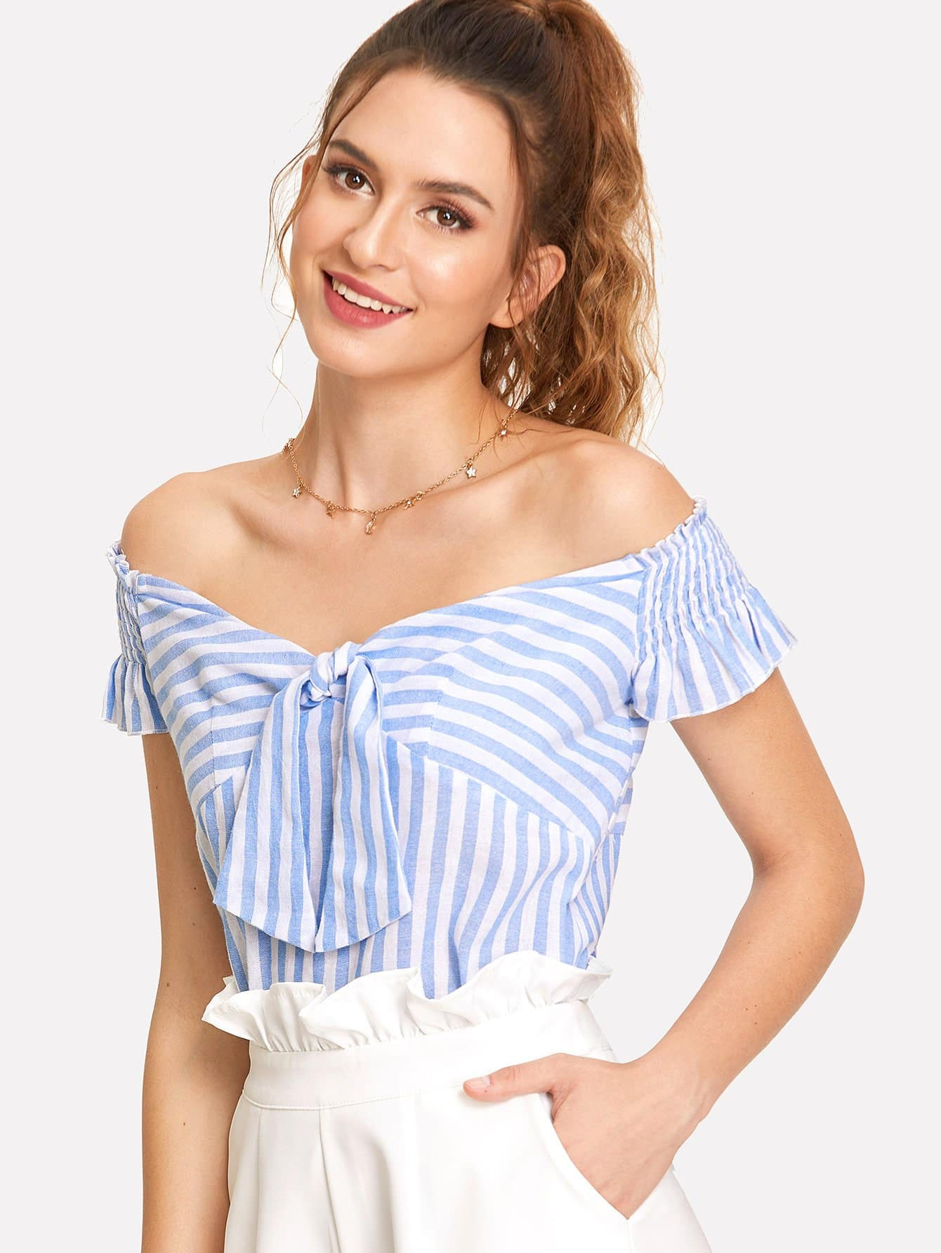 Knot Front Shirred Ruffle Sleeve Bardot Top knot front shirred ruffle sleeve bardot top