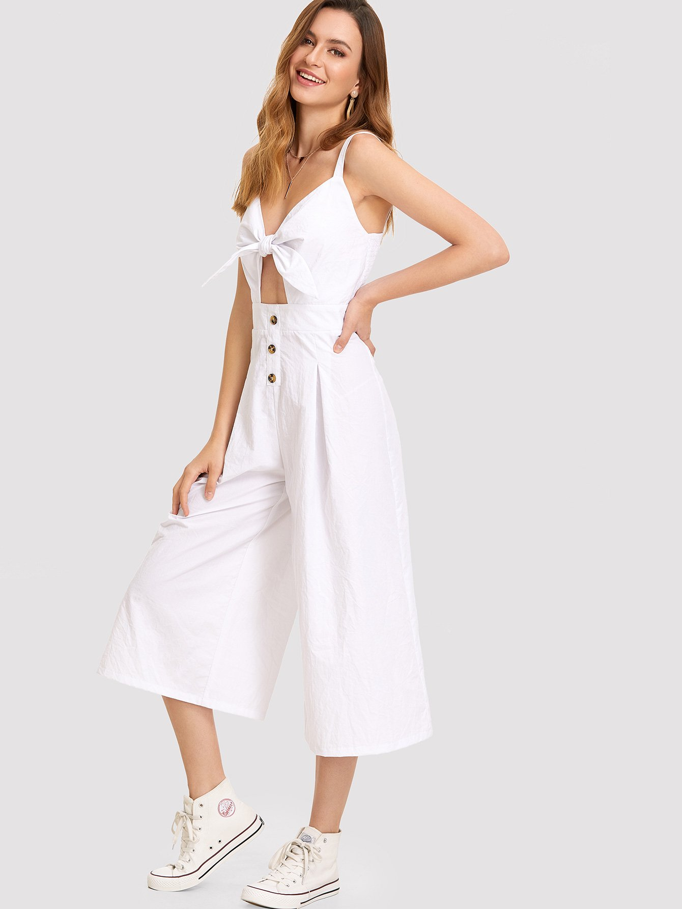 Knot Cutout Front Wide Leg Jumpsuit cutout knees tapered leg joggers