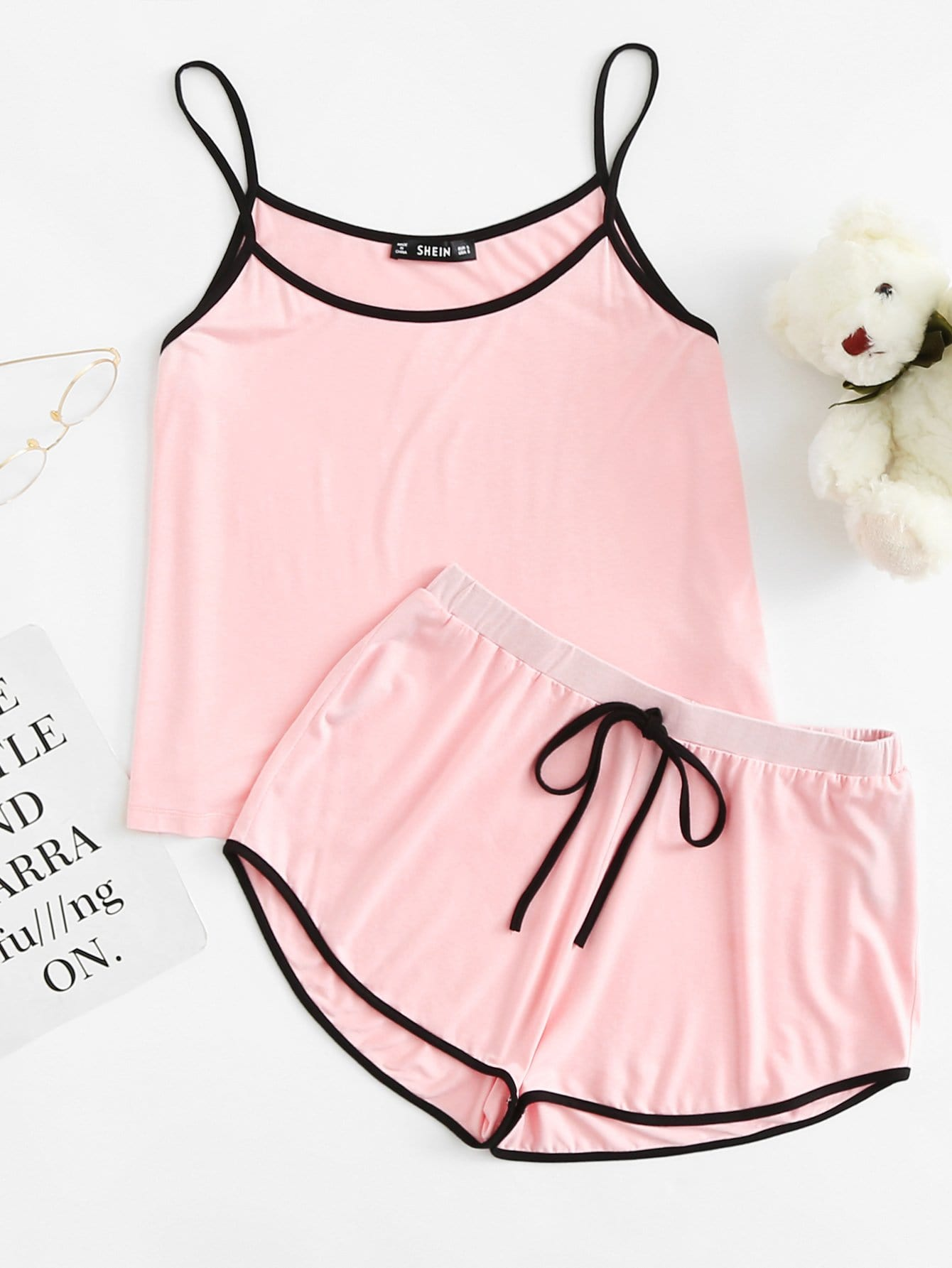 Contrast Binding Cami Top & Drawstring Waist Shorts PJ Set button decoration cami with drawstring shorts