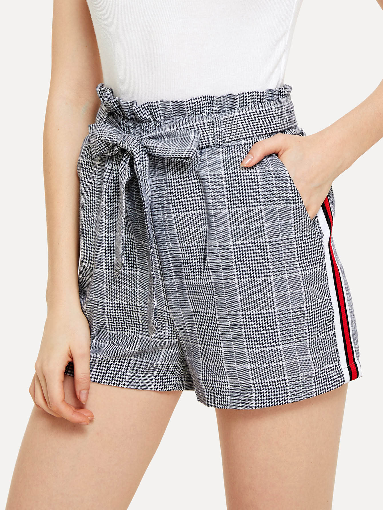 Contrast Tape Side Plaid Belted Shorts contrast stripe tape side pants