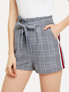 Contrast Tape Side Plaid Belted Shorts