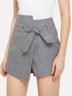 Knot Front Overlap Plaid Shorts