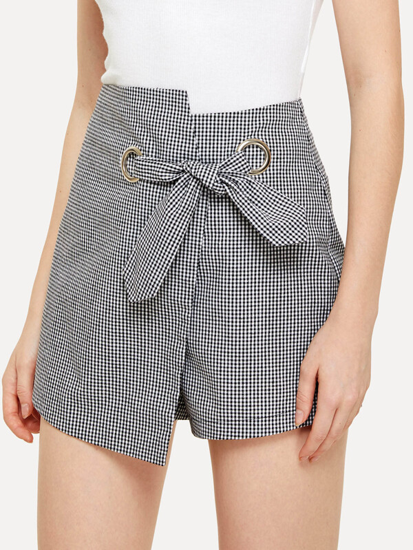 Knot Front Overlap Plaid Shorts by Shein
