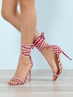 Gingham Print Ankle Wrap Stiletto Heel