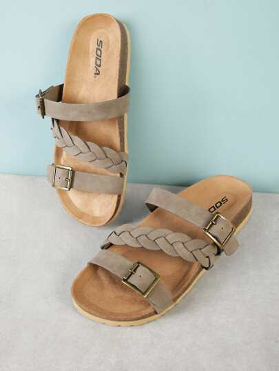 Twisted and Buckled Band Cork Footbed Slide Sandal