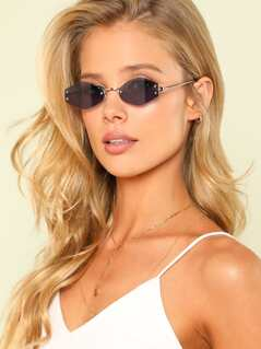 Polygon Shaped Clear Lens Sunglasses