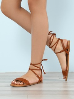 Weaved Band Ankle Wrap Sling Back Flat Sandal