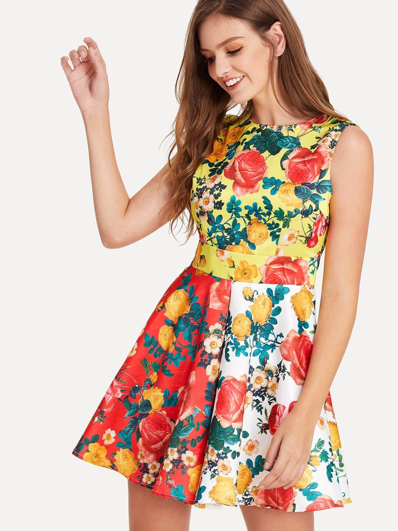 Flower Print Sleeveless Skater Dress retro rose flower print sleeveless skater dress