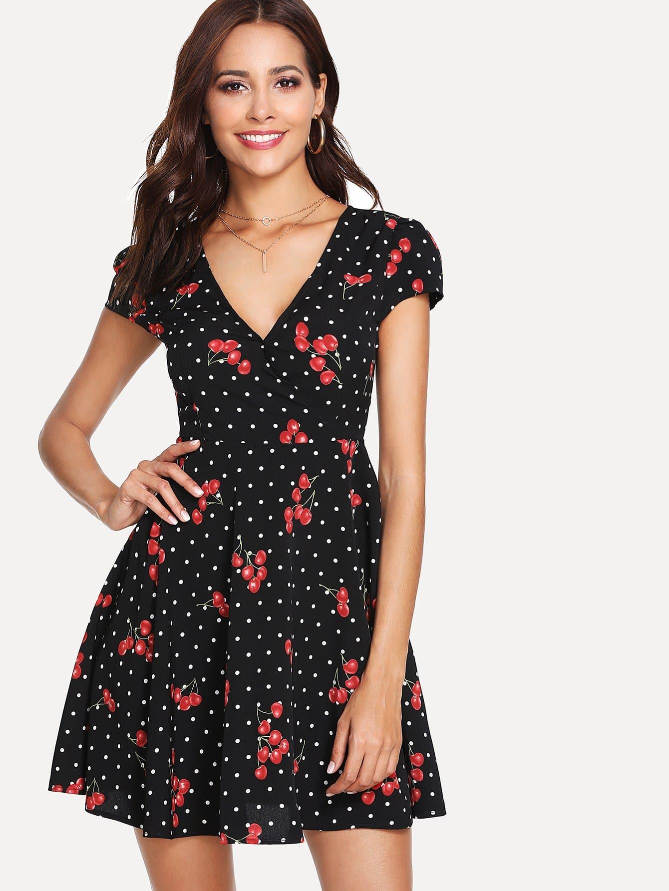 Купить Платье с принтом в горошек и вишни с запахом, Giulia, SheIn