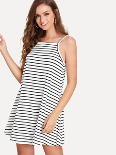 Stripe Print Swing Cami Dress