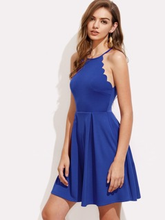 Scallop Edge Box Pleated Cami Dress