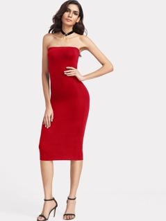 Form Fitting Solid Bandeau Dress